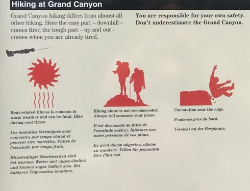 Summary: it's hot and you can fall off the trail into the canyon